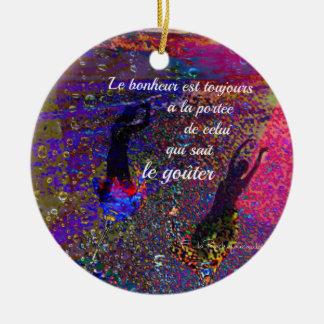 Glückmitteilung auf französisch rundes keramik ornament