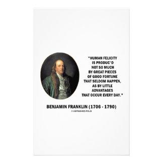 Glücks-Vorteils-Zitat Benjamin Franklins Briefpapier