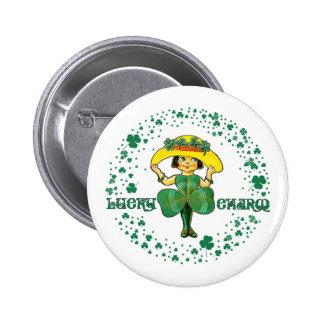 Glücksbringer. Spaß-St Patrick Runder Button 5,7 Cm