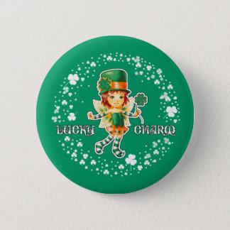 Glücksbringer. St Patrick Tagesgeschenk-Knöpfe Runder Button 5,1 Cm