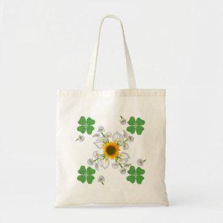 Glücksklee clover mit Sonnenblume und Calla Lilie Tragetasche