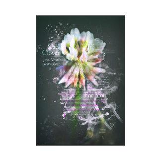 """Glücksklee, """"Lucky Clover"""". Blume. Kunst Leinwanddruck"""
