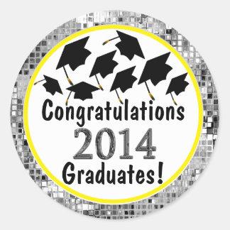 Glückwunsch-Abschluss-Fliegen-Kappen 2014 Runder Aufkleber
