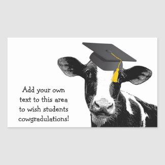 Glückwunsch-Abschluss-lustige Kuh in der Kappe Rechteckiger Aufkleber
