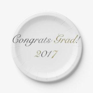 Glückwunsch-Absolvent! Pappteller 2017