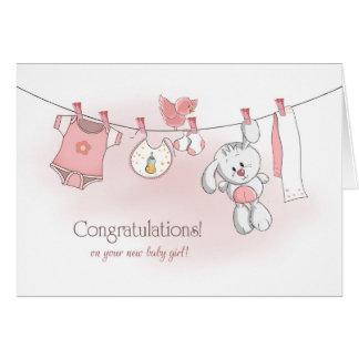 Glückwunsch-Baby mit Häschen Karte