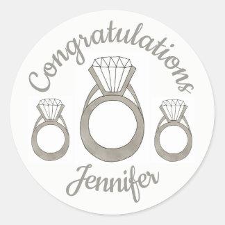 Glückwunsch-Diamant-Ring-Brautparty-Hochzeit Runder Aufkleber