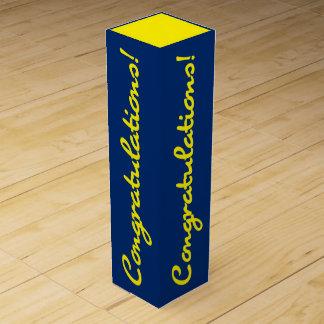 Glückwunsch-Feier-Gelb-Blau-Geschenkboxen Weinbox