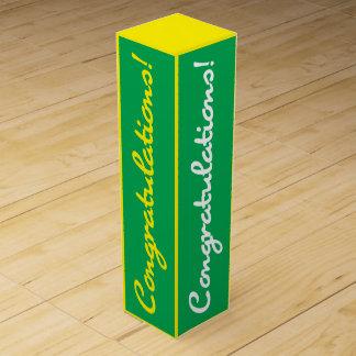 Glückwunsch-Feier-Grün-Gelb-Geschenkboxen Weinbox