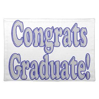 Glückwunsch graduiert Blau u. Silber Tischset