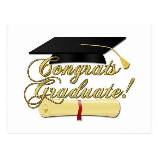 Glückwunsch graduiert Diplom- und Abschlusshut Postkarte
