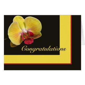 Glückwunsch-Gruß-Karte - gelbe Motten-Orchidee Karte