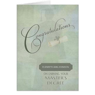 Glückwunsch-Hauptgrad-Absolvent Wname Karte