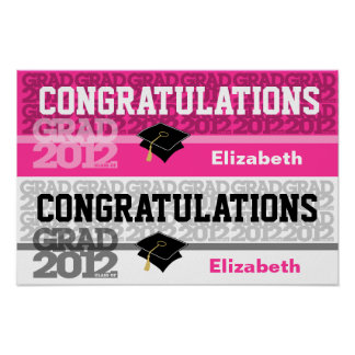 Glückwunsch-Klasse von Fahnen-Plakat-Rosa 2012 Poster