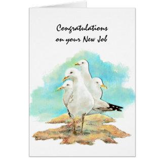 Glückwunsch-neuer Job von den Gruppen-Seemöwen, Grußkarte