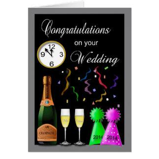 Glückwunsch-Silvesterabend-Hochzeit Karte