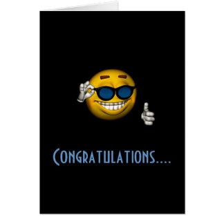 """""""Glückwunsch-"""" - smiley mit Sonnenbrille Karte"""