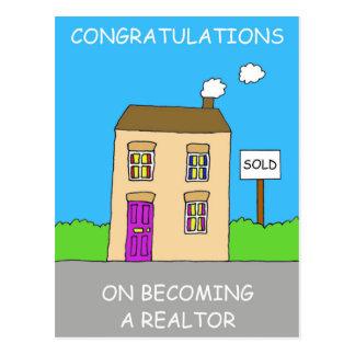 Glückwünsche auf dem Werden ein Grundstücksmakler Postkarte