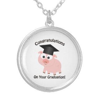 Glückwünsche auf Ihrem Abschluss! Schwein Versilberte Kette