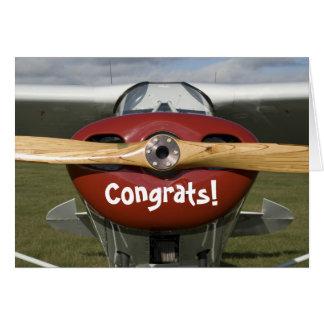 Glückwünsche auf Ihrem ersten Solo- Flug-Piloten Karte
