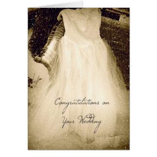Glückwünsche auf Ihrer Hochzeit, Kleid im Schnee Karte
