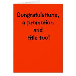 Glückwünsche, eine Werbeaktion und betiteln auch! Grußkarte