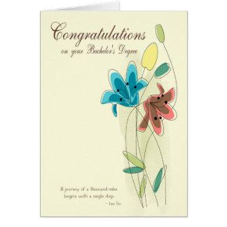 Glückwünsche für den Grad des Junggesellen mit Karte