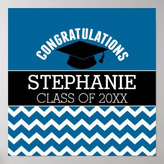 Glückwünsche graduieren - blaues Schwarz-Abschluss Poster