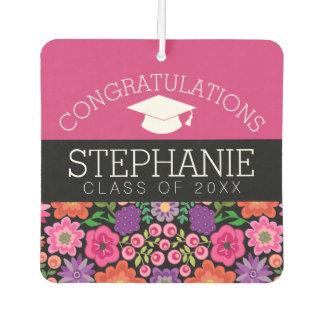 Glückwünsche graduieren Girly Blumen-Abschluss Autolufterfrischer