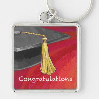 Glückwünsche graduieren Schwarzes und Rot Schlüsselanhänger