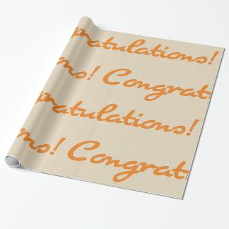 Glückwünsche! Herbst-orange lässiges Skript Geschenkpapier