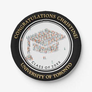Glückwünsche mit kleine Leute Abschlusskappe Pappteller