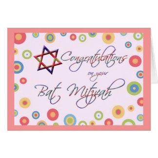Glückwünsche/Schläger-Mitzvah-Bunter Davidsstern Karte
