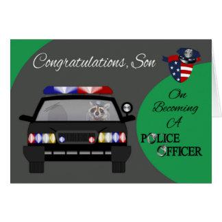 Glückwünsche, Sohn, Polizeibeamte-Gruß-Karte Grußkarte