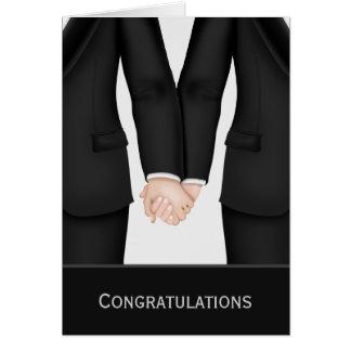 Glückwünsche zwei Bräutigame in den Anzügen Grußkarte