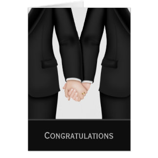 Glückwünsche zwei Bräutigame in den Anzügen Karte