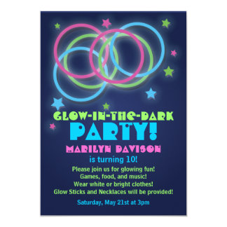 Glühen in den Dunkelheits-Party Einladungs-Ringen 12,7 X 17,8 Cm Einladungskarte