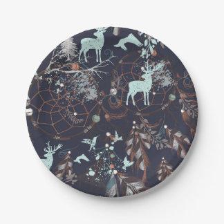 Glühen in dunkles Natur boho Stammes- Muster Pappteller