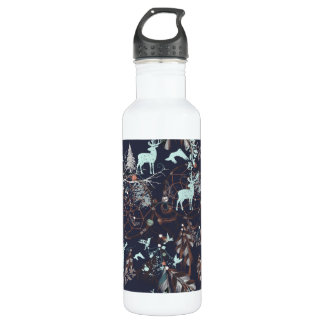 Glühen in dunkles Natur boho Stammes- Muster Trinkflasche