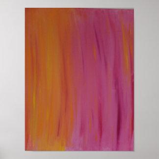 Glühen orange u. rosa Acrylmalerei-Plakat Poster