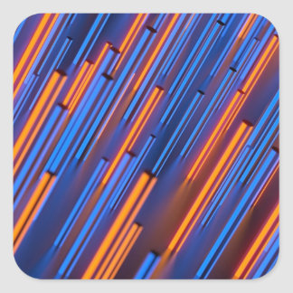 Glühen orange und blaue Stangen Quadrat-Aufkleber