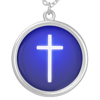 Glühen-weißes religiöses Kreuz Versilberte Kette