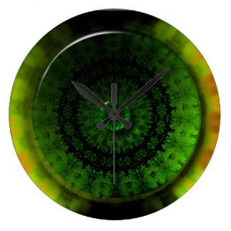 Glühende grüne Helle-runde (große) Wanduhr