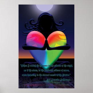 Glühende Herz Namaste Pose Poster