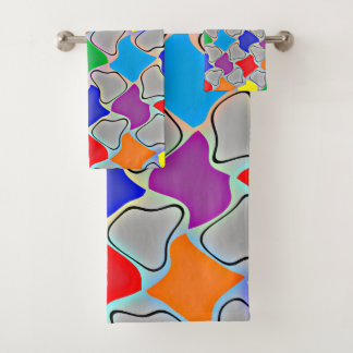 Glühende Kleckse eines Regenbogens Badhandtuch Set