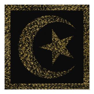 Glühende sichelförmige Mond-Einladung Quadratische 13,3 Cm Einladungskarte