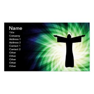 Glühende Silhouette Jesuss Christus Visitenkarten Vorlagen