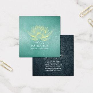 Glühender Goldlotos und aquamariner Quadratische Visitenkarte