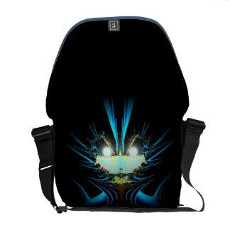 Glühendes Augen-Blau-alien Kurier Tasche