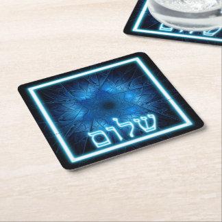Glühendes blaues Shalom auf geätztem Davidsstern Rechteckiger Pappuntersetzer